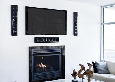 TV and 3 speakers mounted on wall